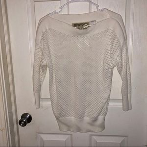 Woman's cream open knit sweater